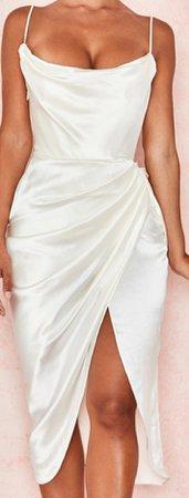 Cream Satin Slip  Dress