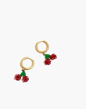 Beaded Cherry Huggie Hoop Earrings