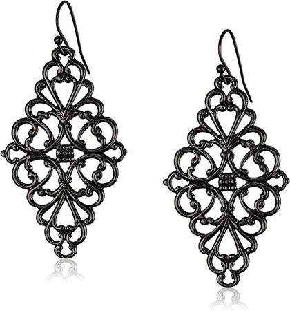 Amazon.com: 1928 Jewelry Black-Tone Filigree Diamond Drop Earrings: Jewelry