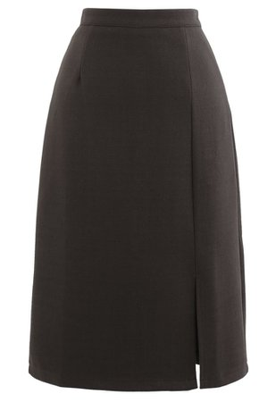 Side Slit Midi Pencil Skirt in Brown - Retro, Indie and Unique Fashion