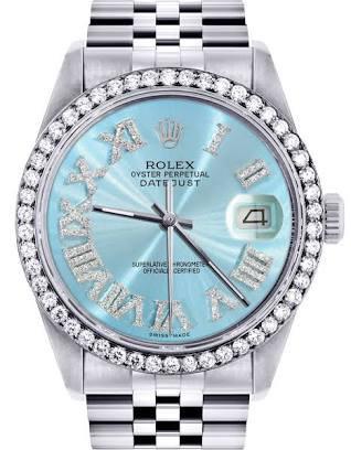 Rolex blue dial date just - Google Search