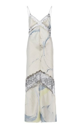 Lace-Trimmed Printed Satin Midi Dress by Marina Moscone | Moda Operandi