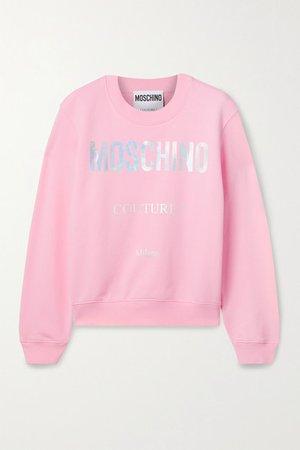 Printed Cotton-jersey Sweatshirt - Pink