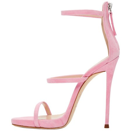 Giuseppe Zanotti NEW Pink Suede Strappy Evening Sandals Heels in Box For Sale at 1stdibs