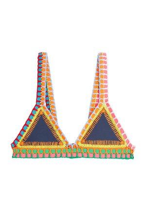 Crochet Trimmed Bikini Top Gr. L