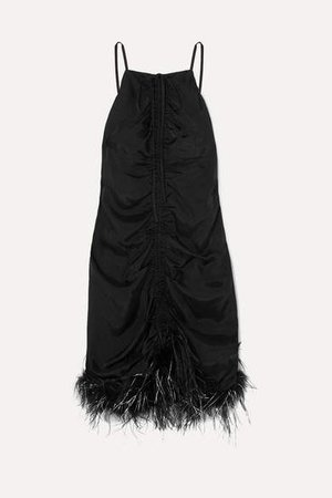 Favour Feather-trimmed Ruched Satin Mini Dress - Black