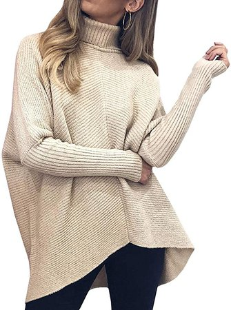 Tutorutor Womens Turtleneck Ribbed Knit Pullover Sweaters Batwing Long Sleeve Asymmetric Hem Casual Winter Jumper Top at Amazon Women's Clothing store