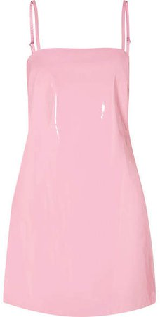 STAUD - Noel Patent Faux Leather Mini Dress - Baby pink
