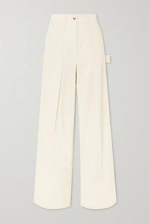 Pleated Cotton-twill Straight-leg Pants - Ivory
