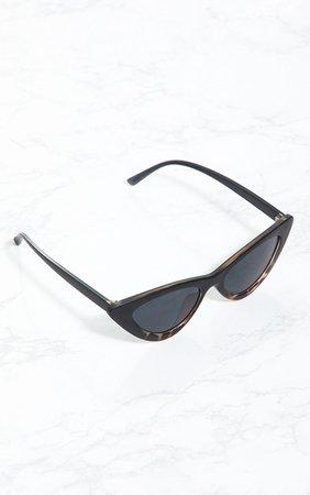 Black Animal Cat Eye Retro Sunglasses   PrettyLittleThing