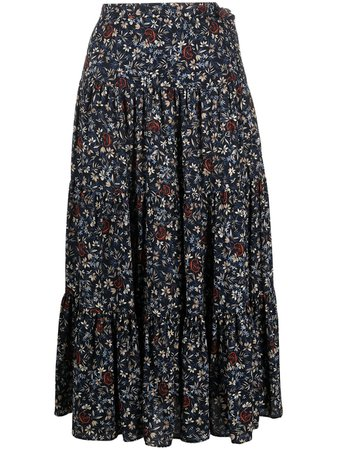 Shop blue Chloé floral print midi skirt with Express Delivery - Farfetch