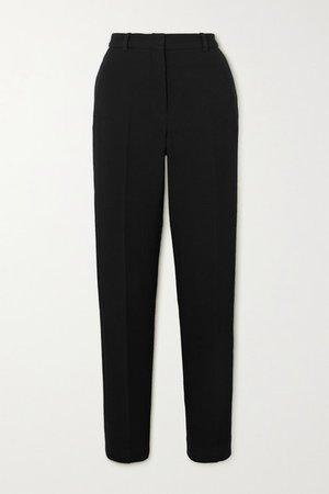Wool-crepe Tapered Pants - Black