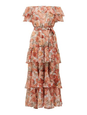 Becca Bardot Ruffle Maxi Dress - Womens Fashion Online | Ever New Clothing coral