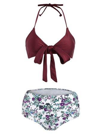 2018 Floral Halter Bowknot Bikini Set RED WINE L In Bikinis Online Store. Best Long Floral Summer Dress For Sale   DressLily.com