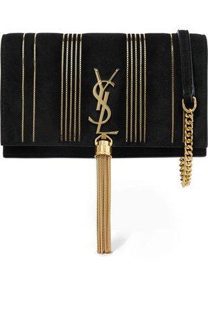 Saint Laurent | Monogramme Kate small embellished suede shoulder bag | NET-A-PORTER.COM
