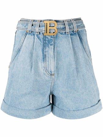 Balmain Short à Taille Haute Ceinturée - Farfetch