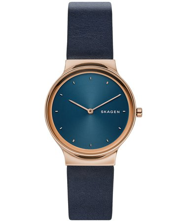 Skagen Women's Freja Navy Blue Leather Strap Watch 34mm & Reviews - Watches - Jewelry & Watches - Macy's