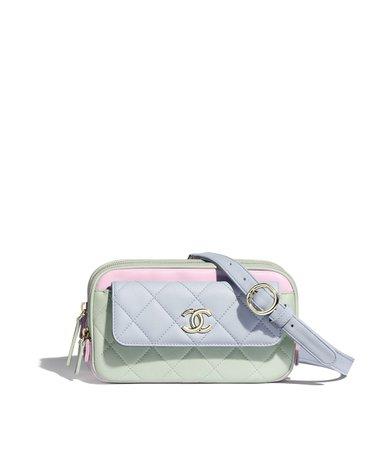 Waist Bag, goatskin & gold-tone metal, green, blue & pink - CHANEL
