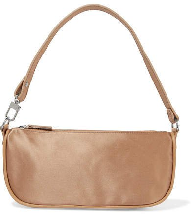 BY FAR - Rachel Leather-trimmed Silk-satin Shoulder Bag