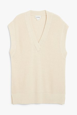 Pullover knit vest - Cream - Knitted tops - Monki WW