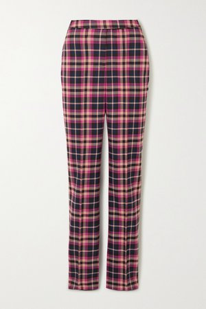 Magenta Ryder checked twill straight-leg pants | Rebecca Vallance | NET-A-PORTER