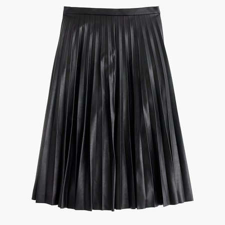 J.Crew: Faux-leather Pleated Midi Skirt in Black
