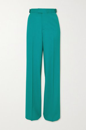 Wool-blend Straight-leg Pants - Turquoise