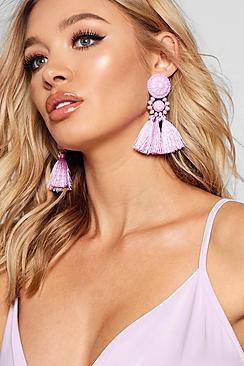 Megan Floral Tassel Bead Statement Earrings