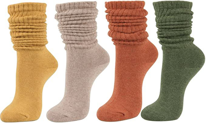Women's Fall Winter Slouch Knit Socks (Basic Cotton Knit_Rib Color_4Pair) at Amazon Women's Clothing store