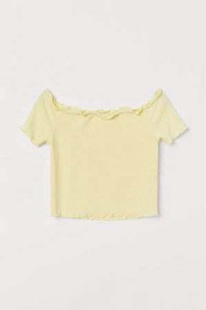 Short Off-the-shoulder Top - Yellow