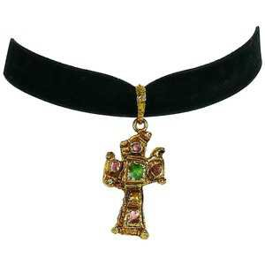Christian Lacroix Vintage Cross Pendant Velvet Choker Necklace