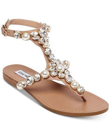 Steve Madden Women's Chantel Embellished Flat Sandals & Reviews - Sandals & Flip Flops - Shoes - Macy's