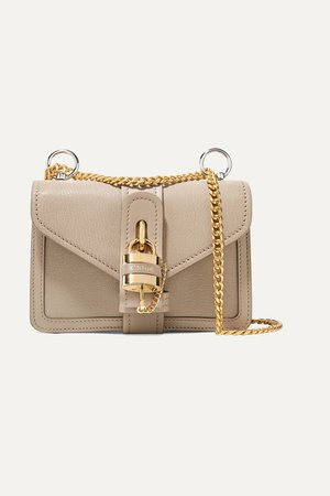 Taupe Aby Chain mini textured and smooth leather shoulder bag | Chloé | NET-A-PORTER