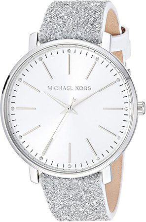Michael Kors Women's Pyper Stainless Steel Quartz Watch with Leather Strap, White, 18 (Model: MK2877): Watches
