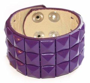 Cyber Goth Bracelet Gear Purple Pyramid Wristband | Vinyl Dolls