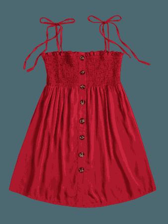Smocked Button Up Mini Dress