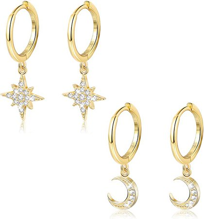 Moon Star Dangle Hoop Earring