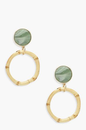 Sage Resin Bamboo Circle Statement Earrings | Boohoo
