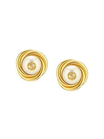 Gucci Logo Detail Glass Pearl Bead Earrings Ss20   Farfetch.com