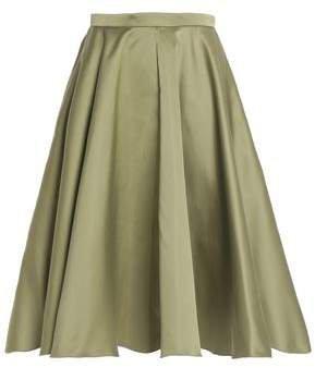 Pleated Duchesse-satin Skirt