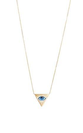 Lito 14K Gold Small Blue Enamel Eye Necklace