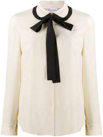 RedValentino two-tone Pussybow Blouse - Farfetch