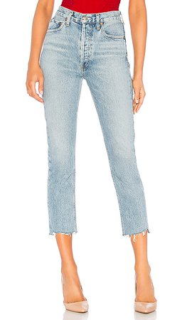 AGOLDE Riley High Rise Straight Crop in Zephyr | REVOLVE