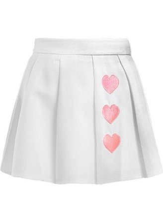 White Skirt with Pink Hearts