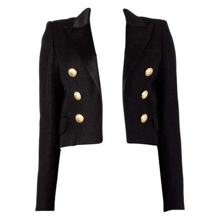 BALMAIN black SATIN TRIMMED CROPPE OPEN Blazer Jacket 38 For Sale at 1stdibs
