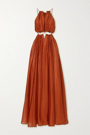 Copper Thera cutout gathered silk crepe de chine maxi dress | Cult Gaia | NET-A-PORTER