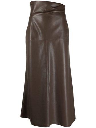 Nanushka ruched-waist Faux Leather Skirt - Farfetch