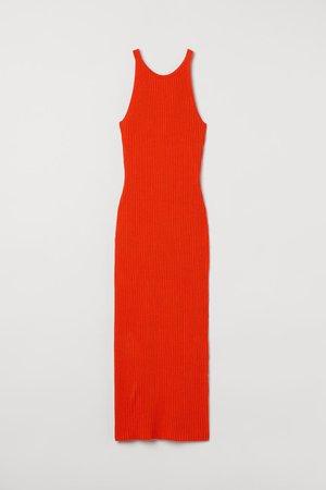 Rib-knit dress - Orange-red - Ladies   H&M GB