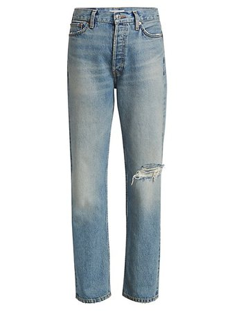 Re/done Loose-Fit Distressed Straight-Leg Jeans | SaksFifthAvenue