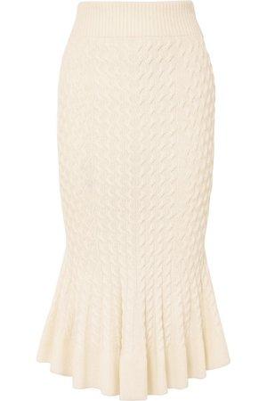 Alexander McQueen | Cable-knit linen-blend midi skirt | NET-A-PORTER.COM